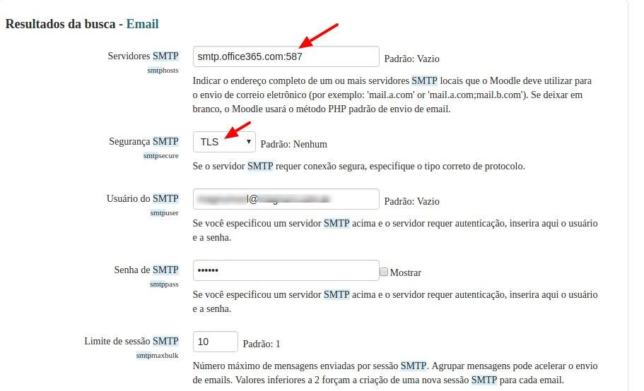 Configurar o sevidor de email SMTP Office365 no moodle