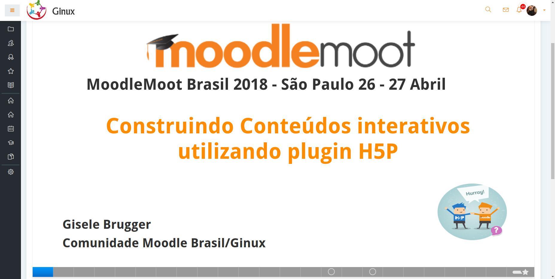 www.moodlenews.com cita apresentação da consultora Gisele Brugger no #mootBr18 sobre H5P
