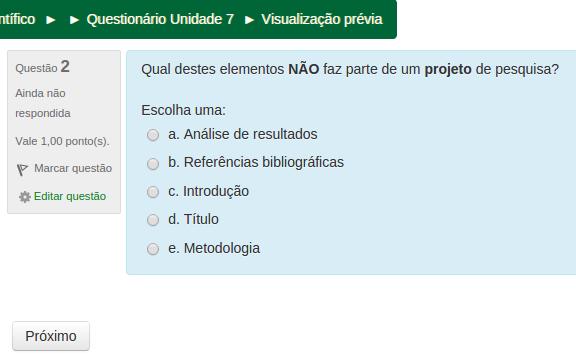Questionário Unidade 7
